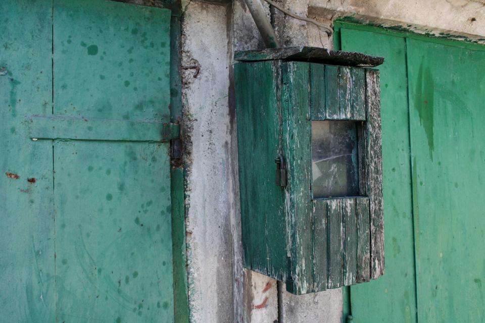 Dirty metal texture, doors close-up